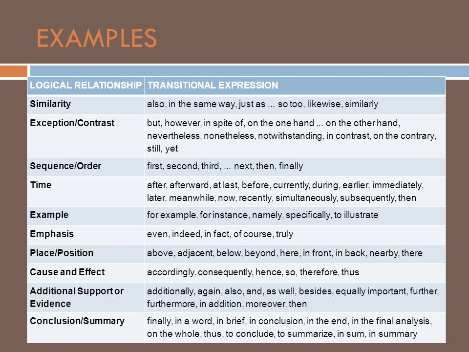 EXAMPLES LOGICAL RELATIONSHIP TRANSITIONAL EXPRESSION Similarity