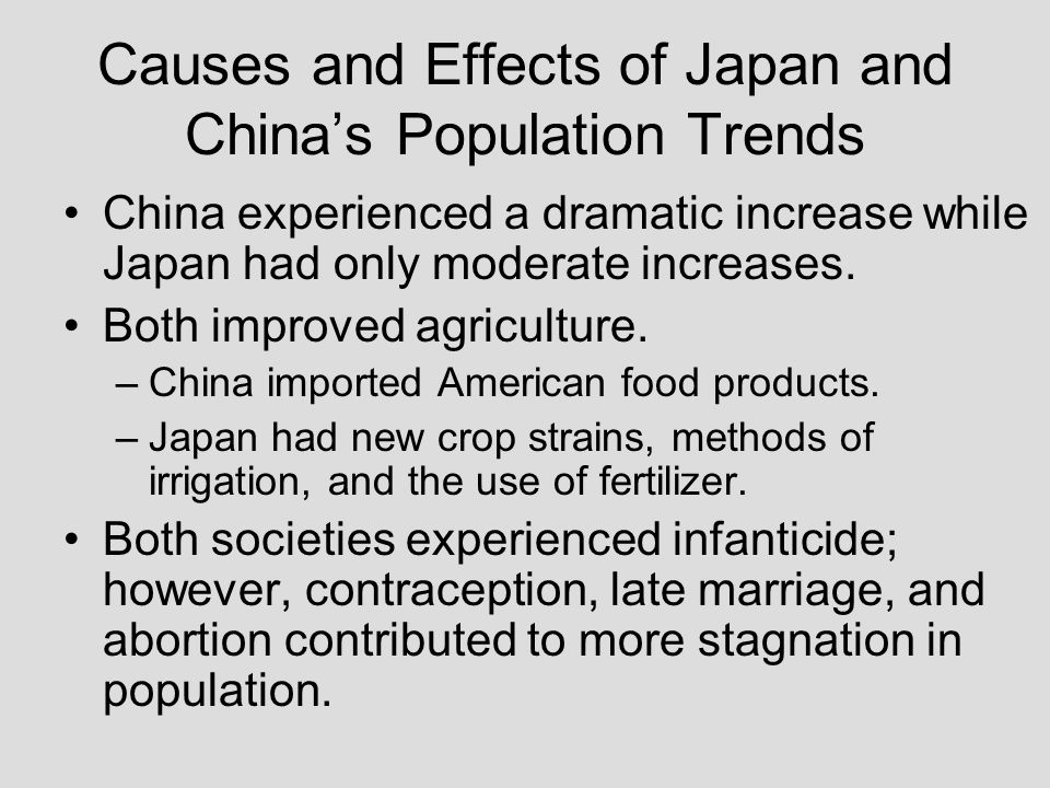 Causes and Effects of Japan and China's Population Trends