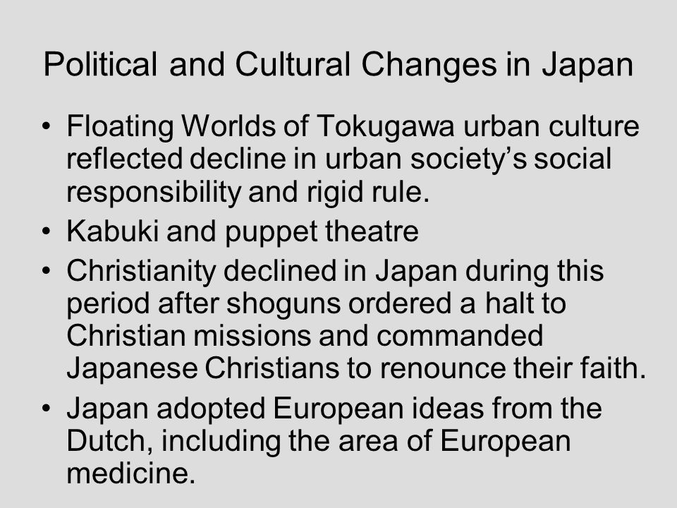 Political and Cultural Changes in Japan