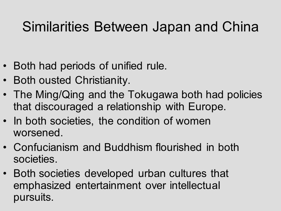 Similarities Between Japan and China