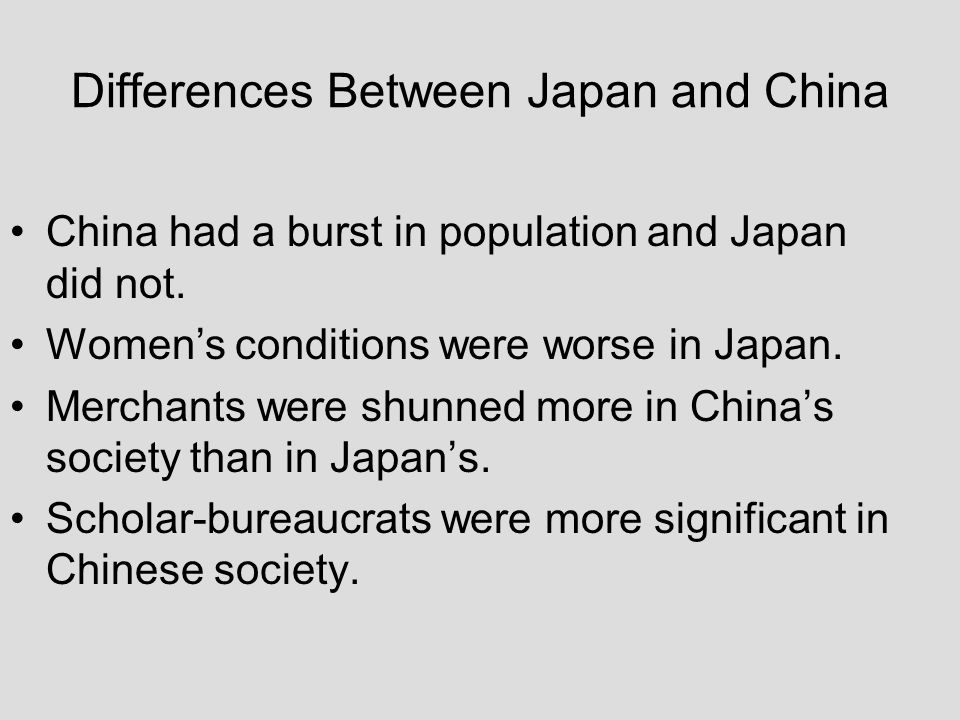 Differences Between Japan and China