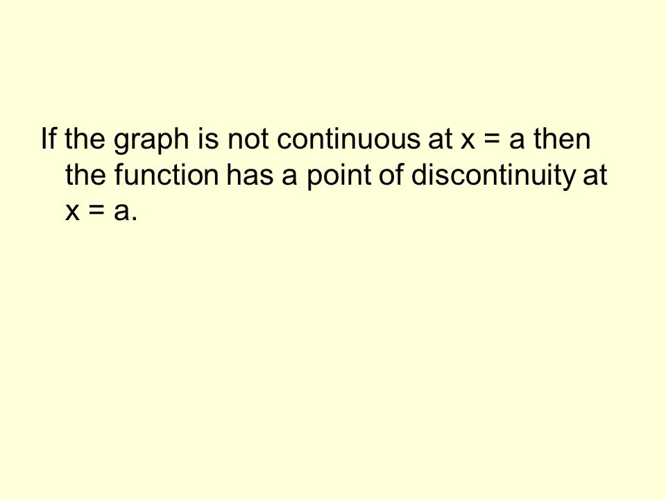If the graph is not continuous at x = a then the function has a point of discontinuity at x = a.