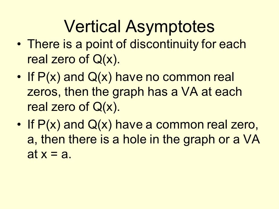 Vertical Asymptotes There is a point of discontinuity for each real zero of Q(x).