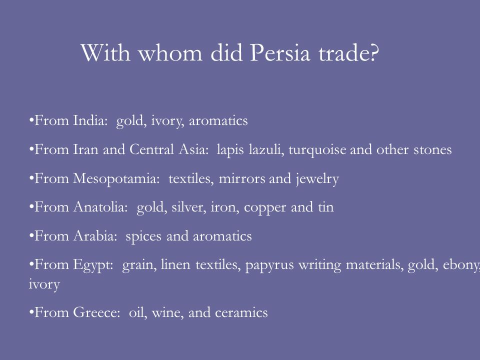 With whom did Persia trade