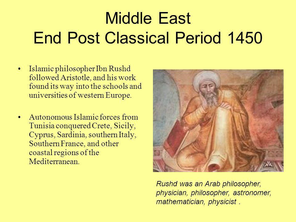 Middle East End Post Classical Period 1450