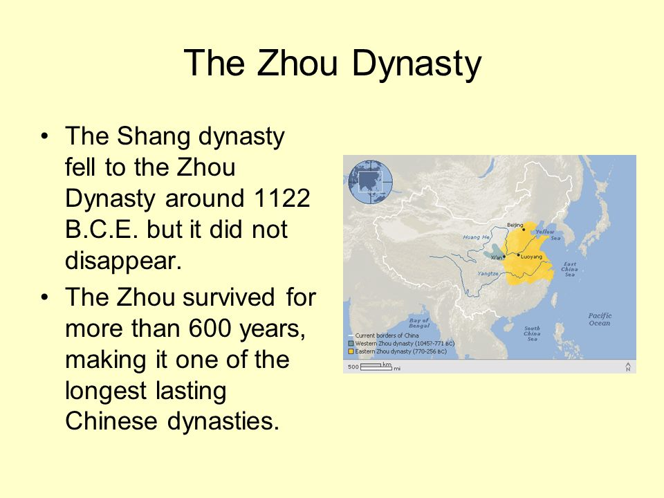 The Zhou Dynasty The Shang dynasty fell to the Zhou Dynasty around 1122 B.C.E. but it did not disappear.