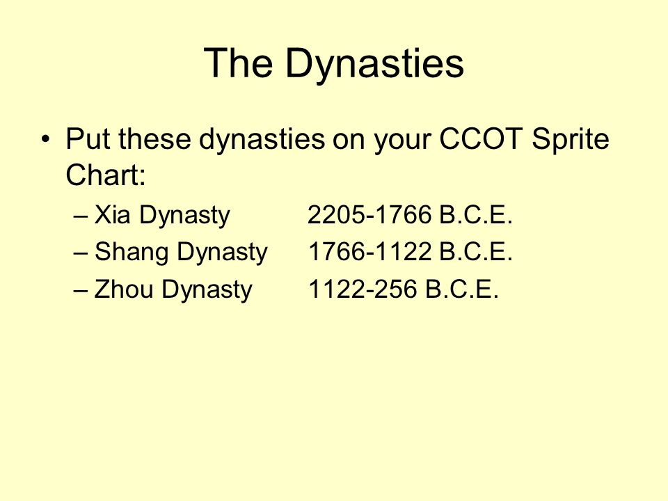 The Dynasties Put these dynasties on your CCOT Sprite Chart: