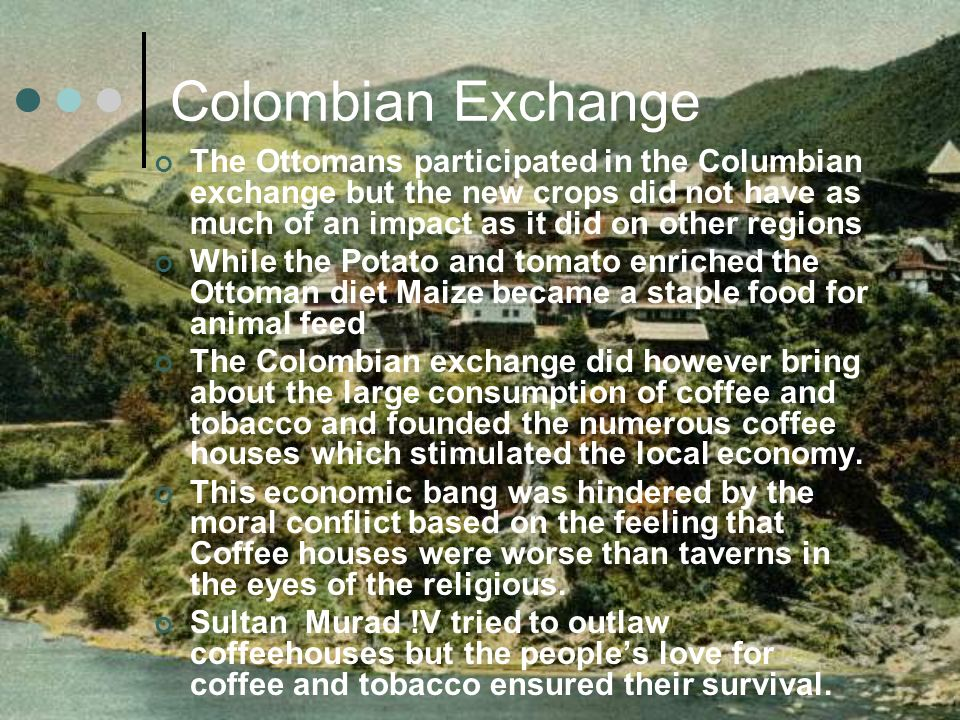 Colombian Exchange The Ottomans participated in the Columbian exchange but the new crops did not have as much of an impact as it did on other regions.