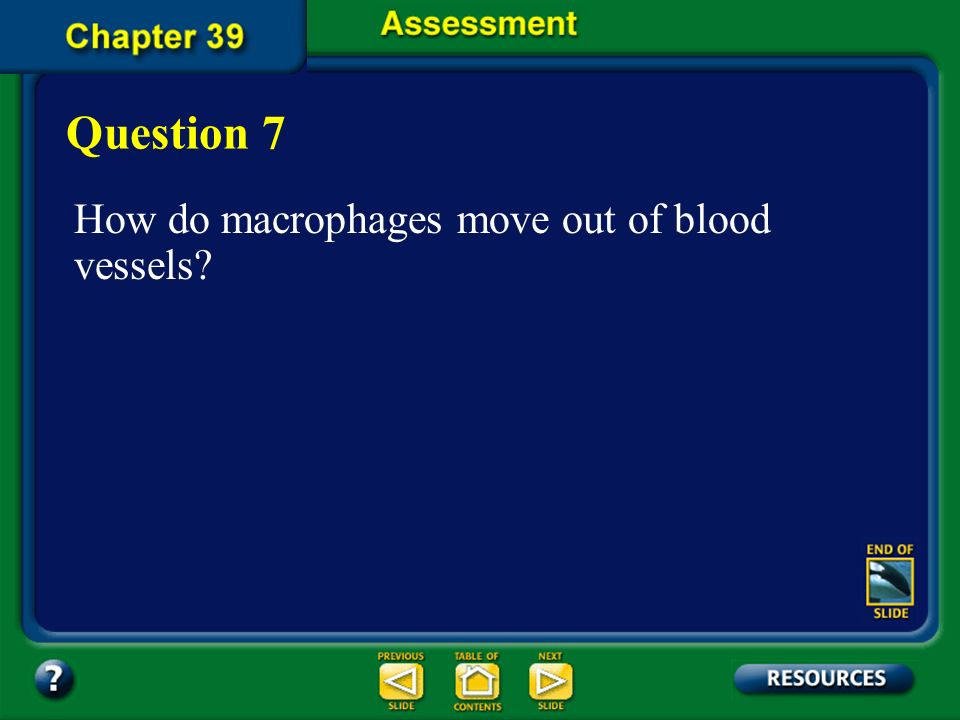 Question 7 How do macrophages move out of blood vessels