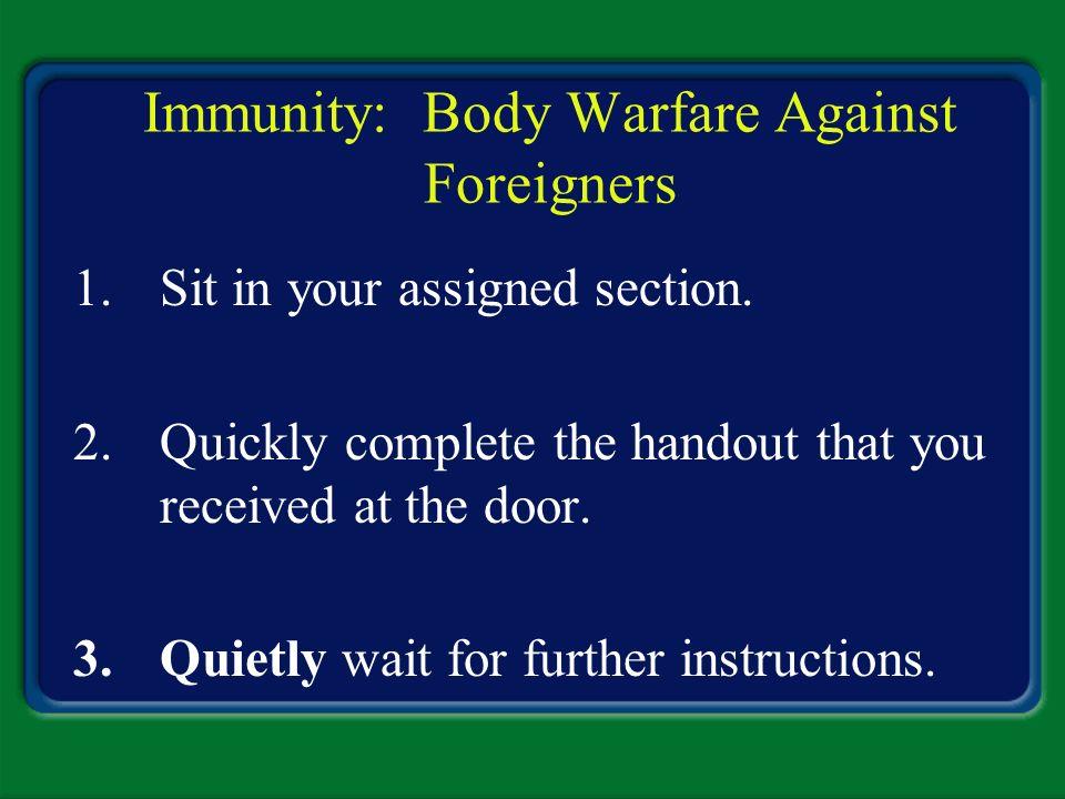 Immunity: Body Warfare Against Foreigners