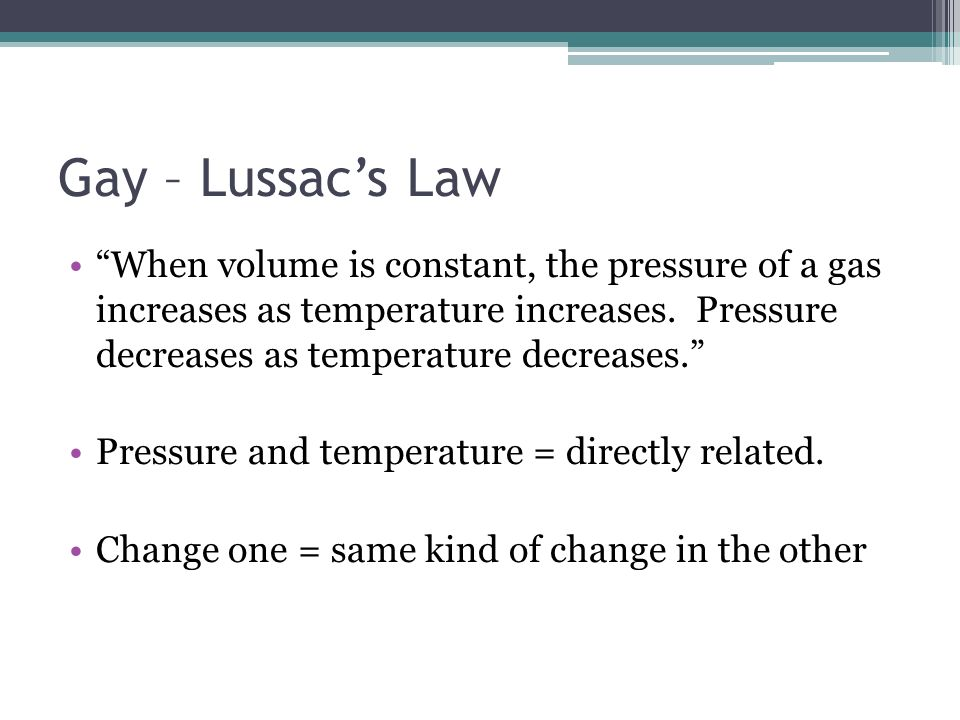 Gay – Lussac's Law