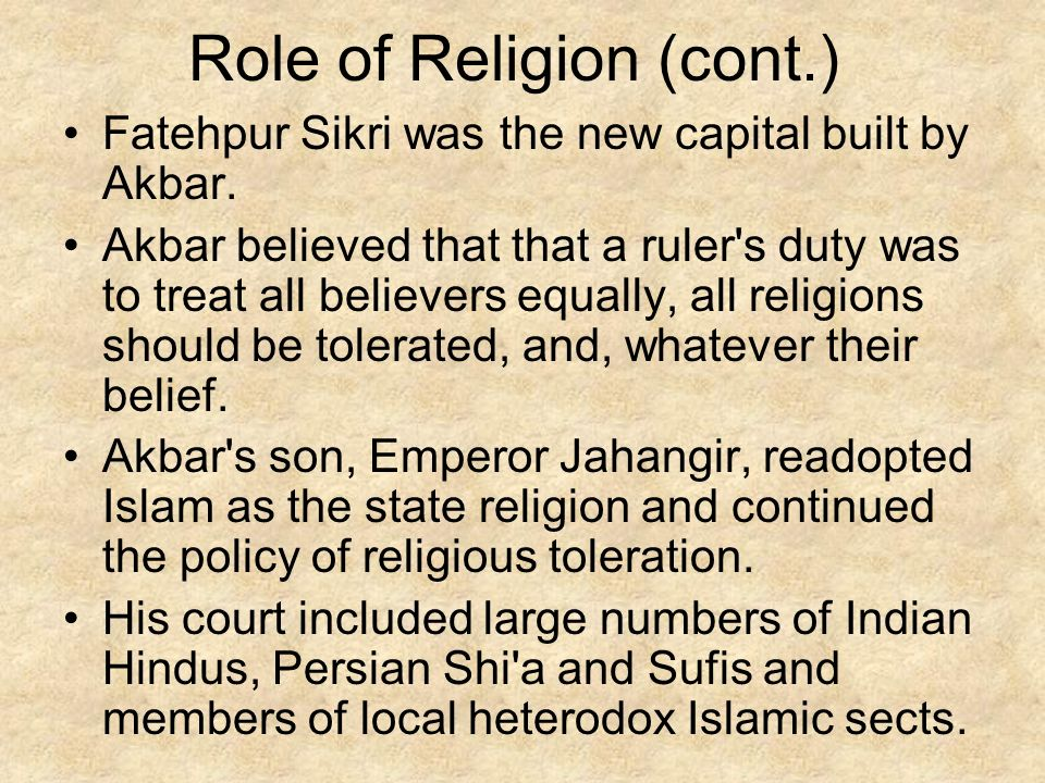 Role of Religion (cont.)