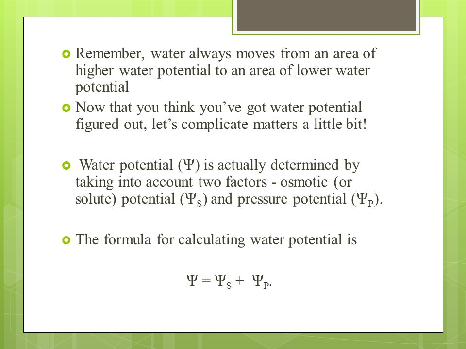 Remember, water always moves from an area of higher water potential to an area of lower water potential