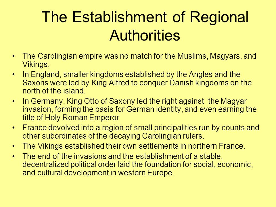The Establishment of Regional Authorities