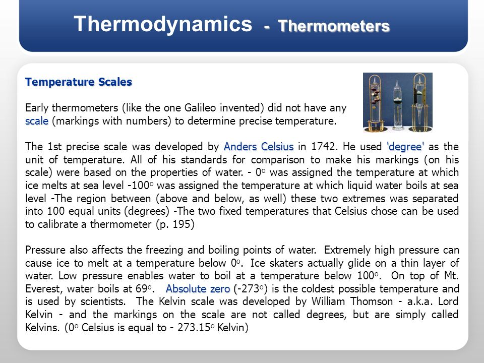 Thermodynamics - Thermometers