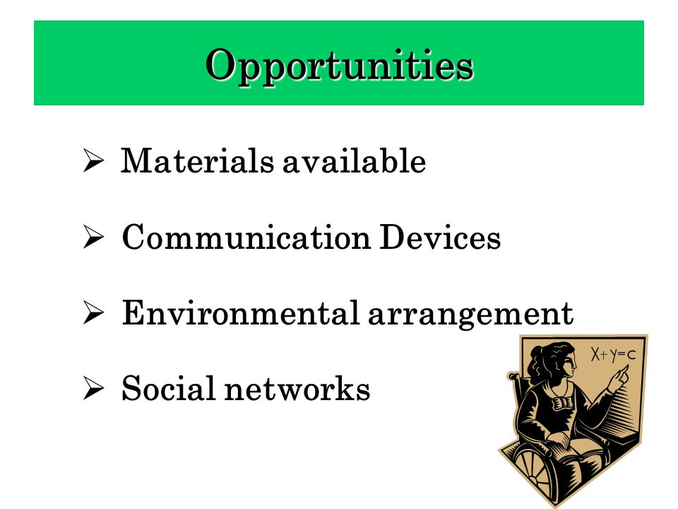 Opportunities Materials available Communication Devices
