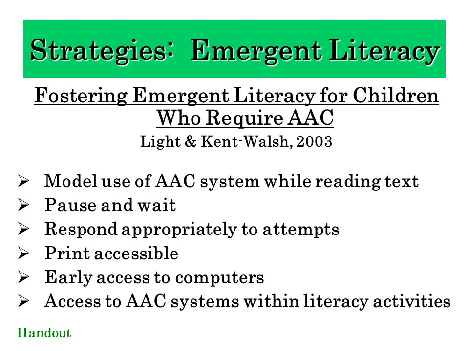 Strategies: Emergent Literacy
