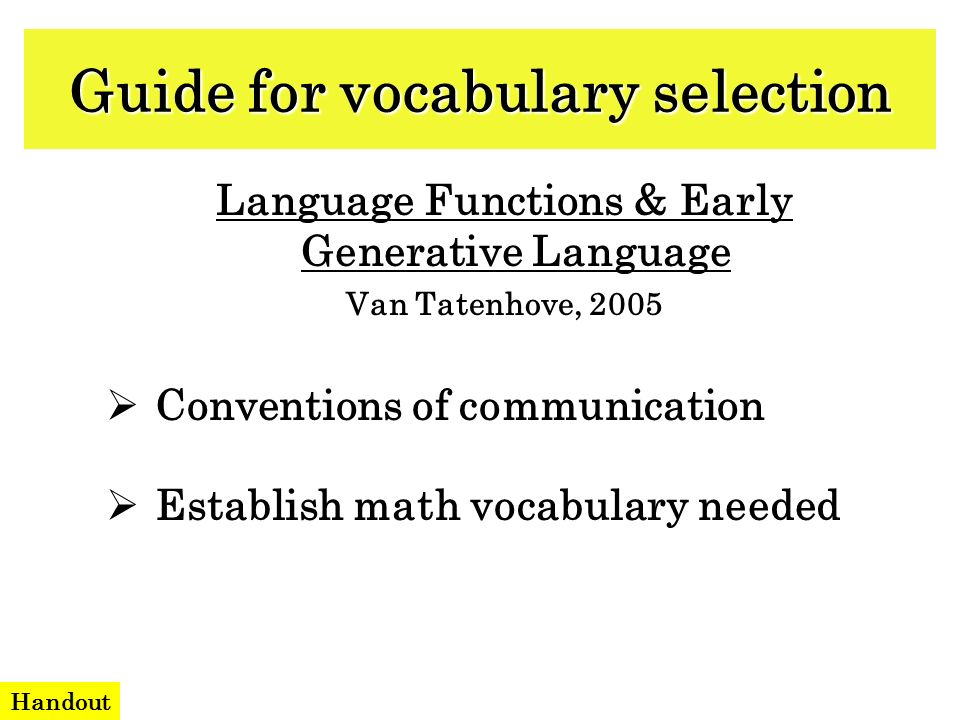 Guide for vocabulary selection