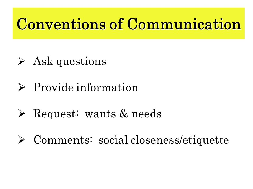Conventions of Communication