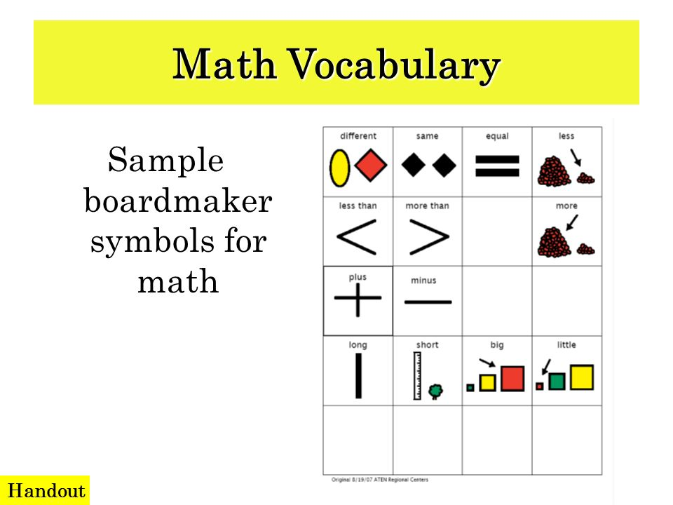 Sample boardmaker symbols for math