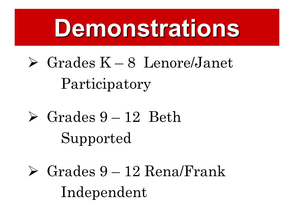 Demonstrations Grades K – 8 Lenore/Janet Participatory