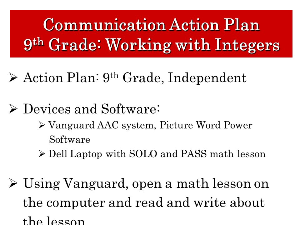 Communication Action Plan 9th Grade: Working with Integers