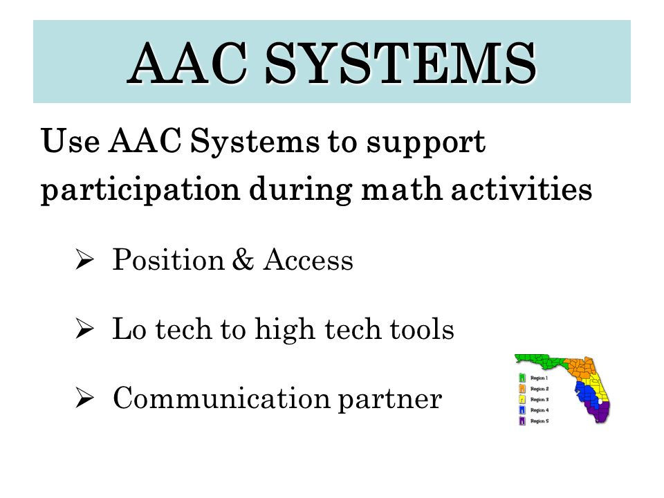 AAC SYSTEMS Use AAC Systems to support