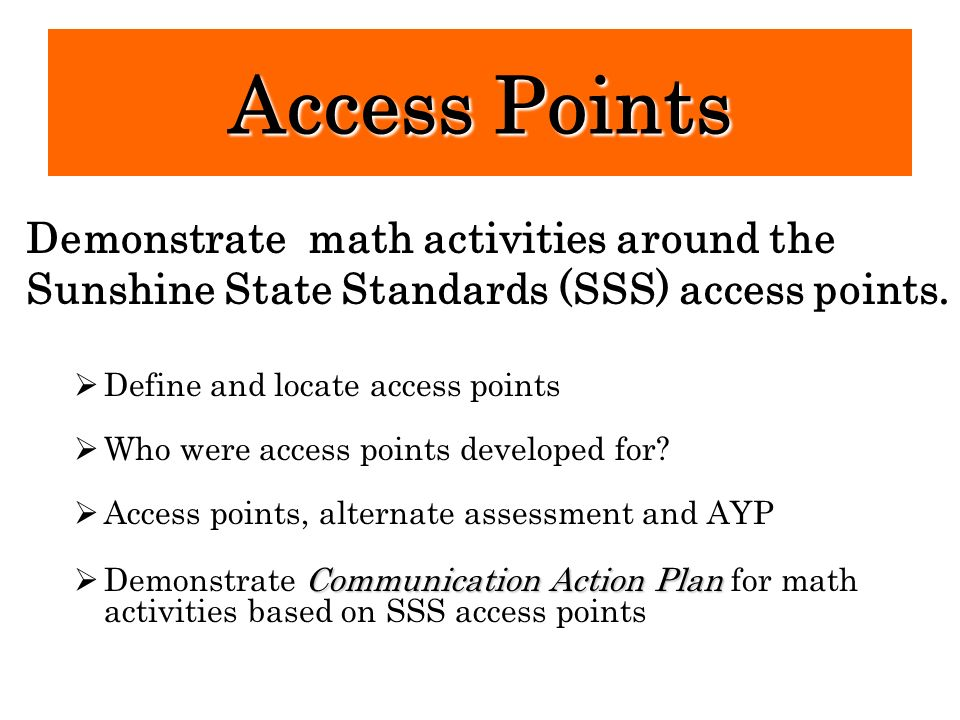 Access Points Demonstrate math activities around the