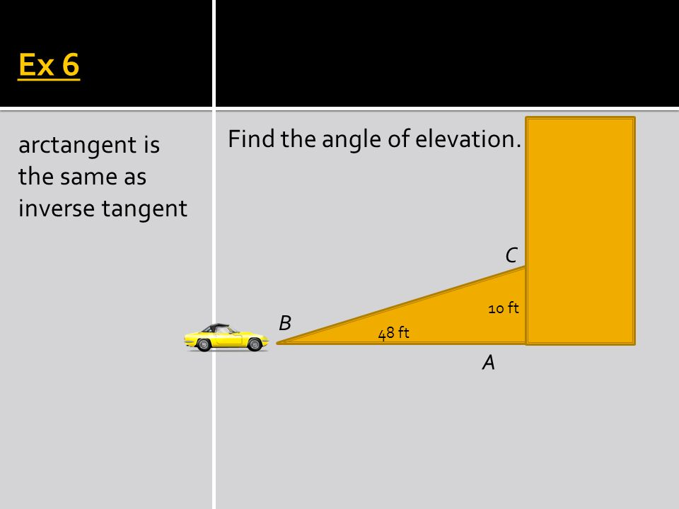 Ex 6 Find the angle of elevation.