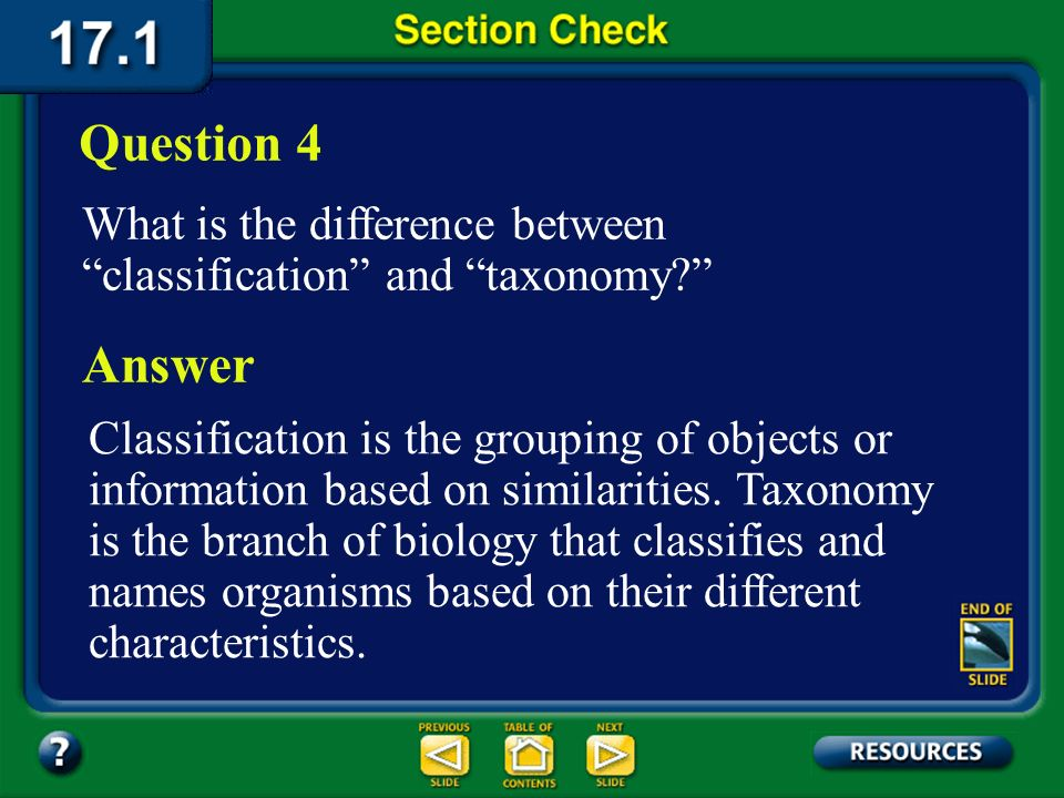 Question 4 What is the difference between classification and taxonomy Answer.