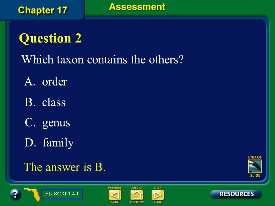 Question 2 Which taxon contains the others A. order B. class C. genus