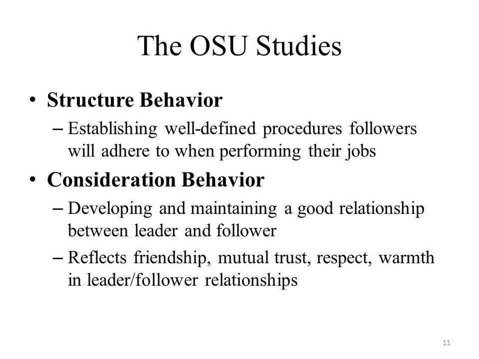 The OSU Studies Structure Behavior Consideration Behavior