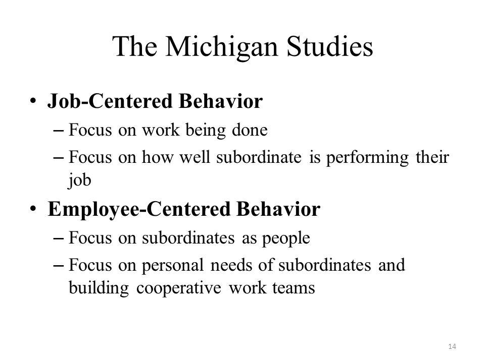 The Michigan Studies Job-Centered Behavior Employee-Centered Behavior