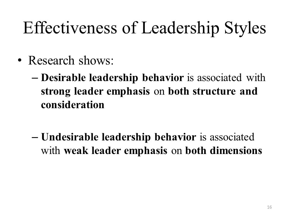 Effectiveness of Leadership Styles