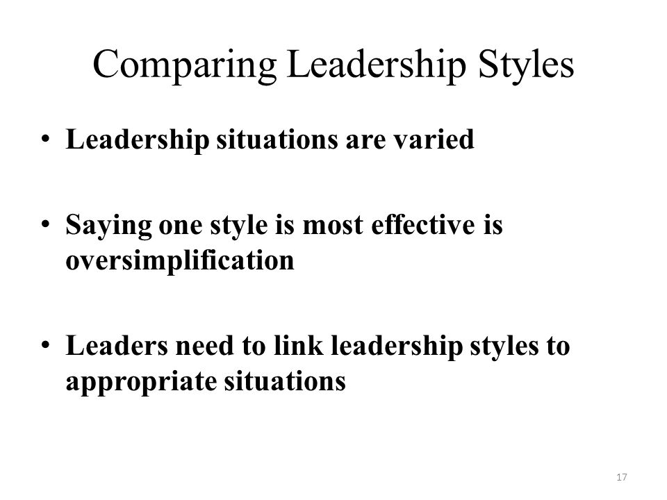 Comparing Leadership Styles