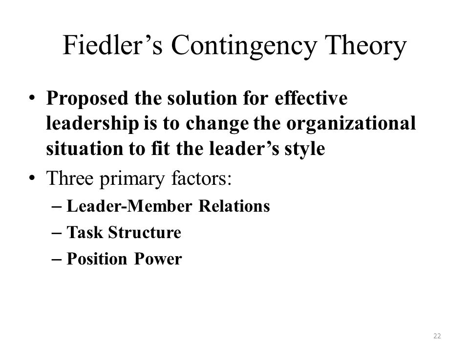 Fiedler's Contingency Theory