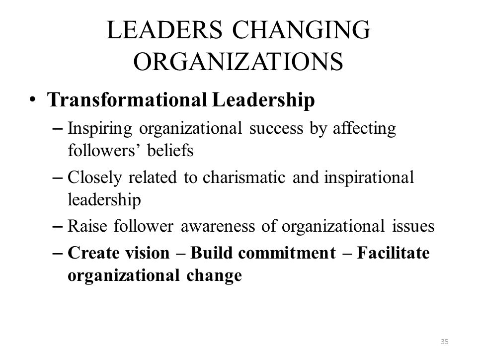 LEADERS CHANGING ORGANIZATIONS