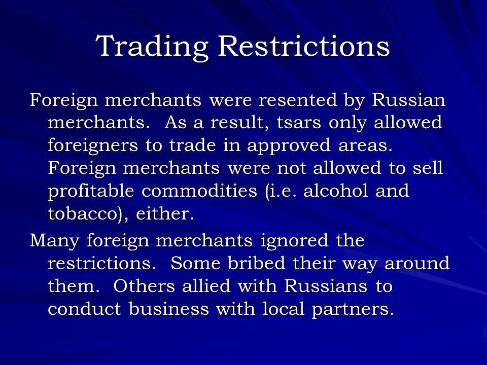Trading Restrictions