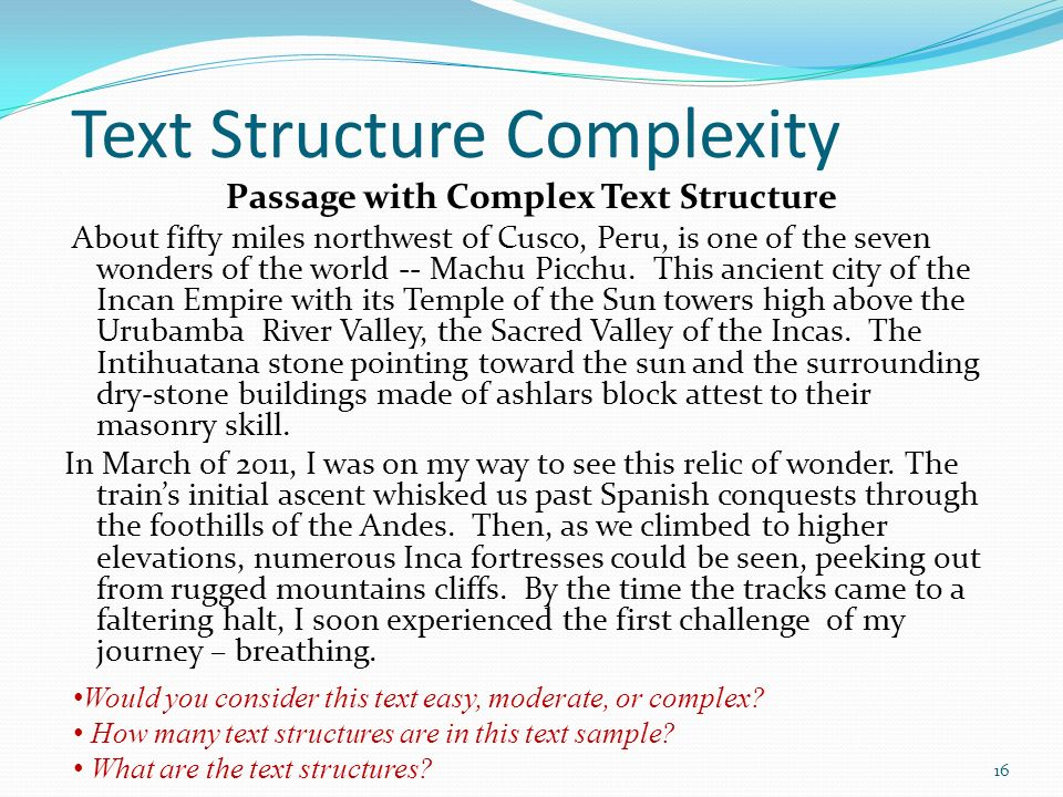 Text Structure Complexity