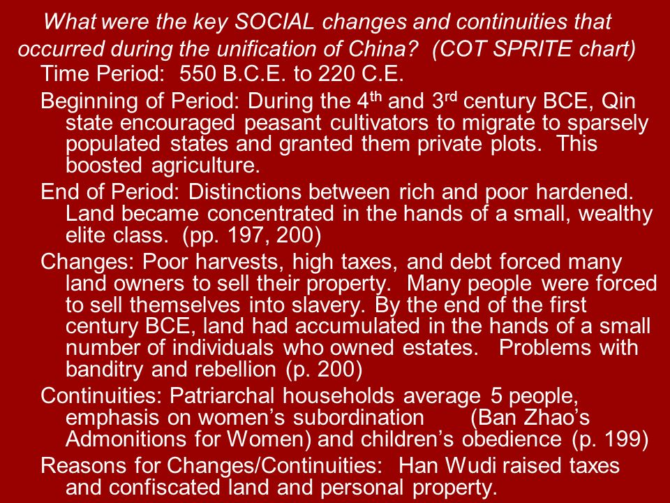 What were the key SOCIAL changes and continuities that occurred during the unification of China (COT SPRITE chart)