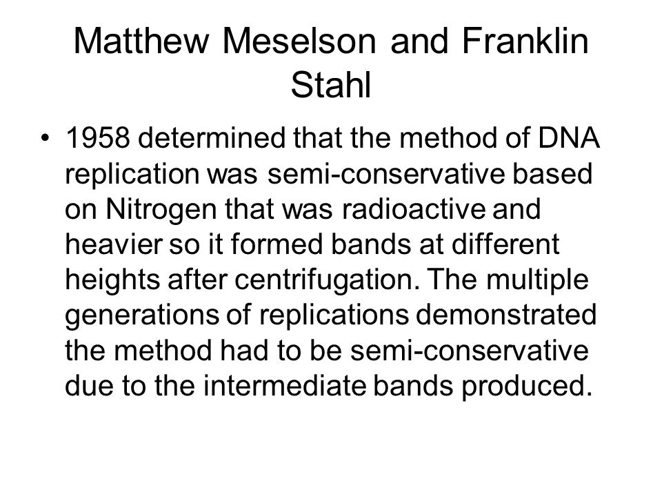 Matthew Meselson and Franklin Stahl
