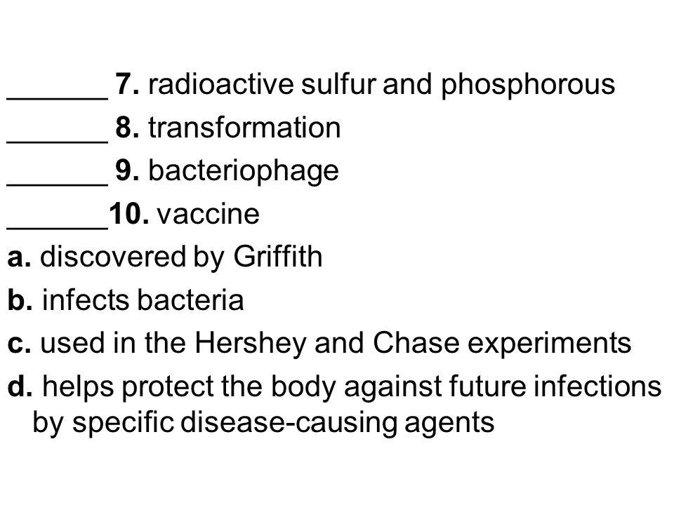 ______ 7. radioactive sulfur and phosphorous