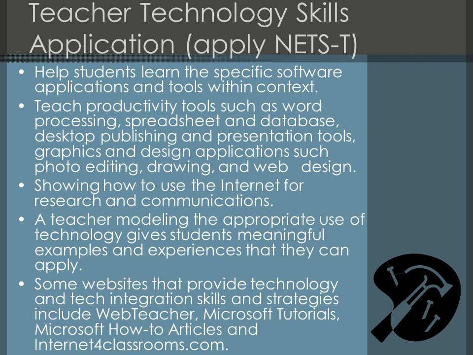 Teacher Technology Skills Application (apply NETS-T)