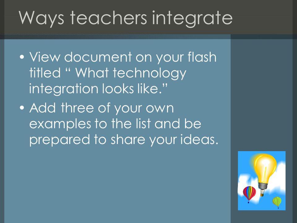 Ways teachers integrate