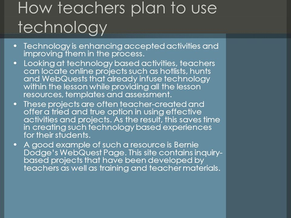 How teachers plan to use technology