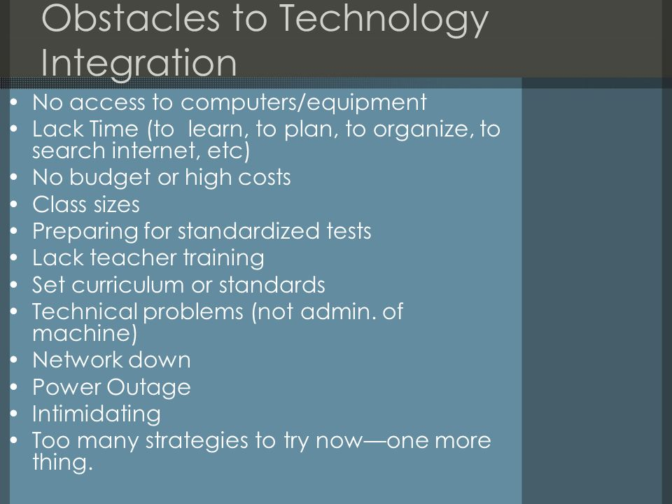 Obstacles to Technology Integration