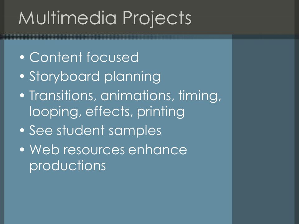 Multimedia Projects Content focused Storyboard planning