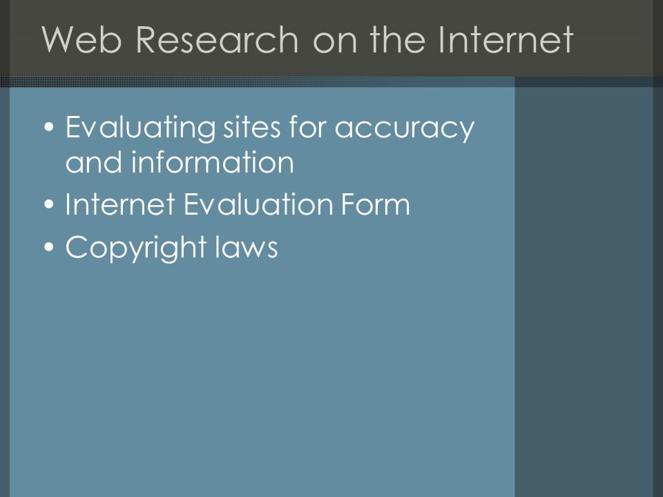 Web Research on the Internet