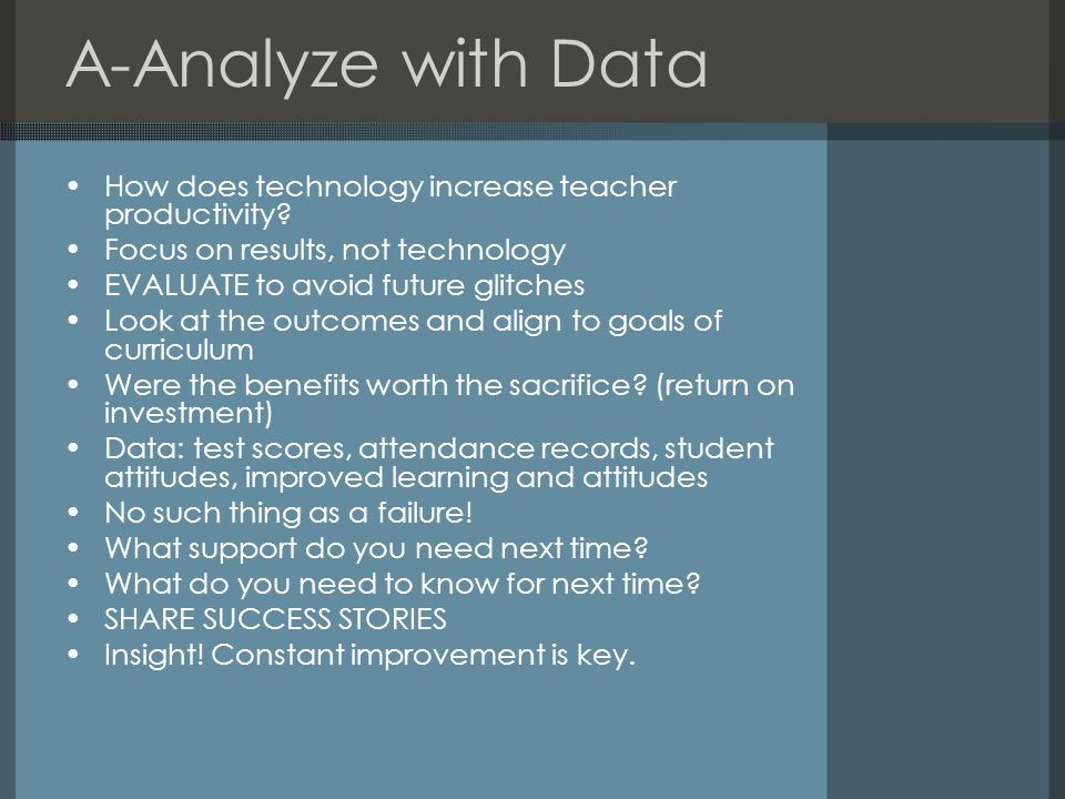 A-Analyze with Data How does technology increase teacher productivity