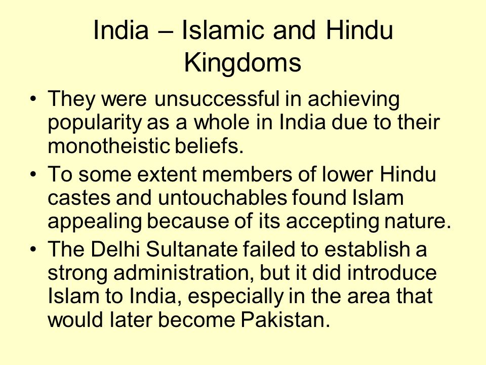 India – Islamic and Hindu Kingdoms